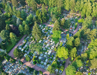 Aerial view on big cemetery many tombstones and trees