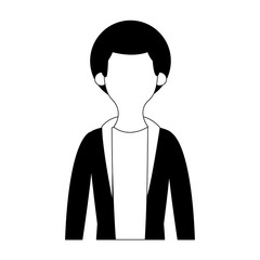 Young man cartoon profile vector illustration graphic design
