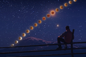 A hiker enjoy the moon eclipse