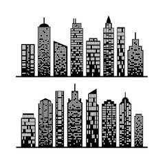 Modern city skyline, building silhouette in night time on white.