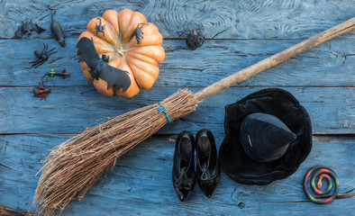 witch's broom and hat for Halloween