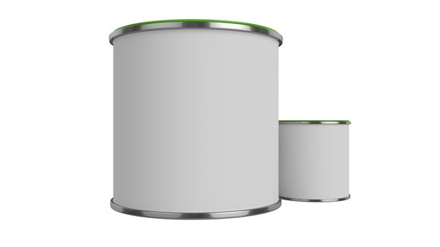 3D realistic render. Composition of two isolated paint can with green lid. Big and small. Design template.