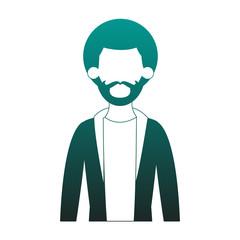 Young man cartoon profile vector illustration graphic design