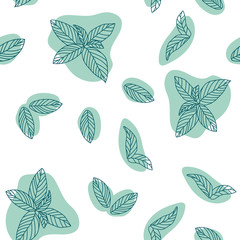 Mint leaves hand drawn vector seamless pattern. Peppermint, spicy herbs, kitchen texture, Doodle cooking ingredient for design package tea, wallpaper, cosmetics, textile, natural organ