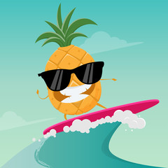 funny cartoon of a surfing pineapple