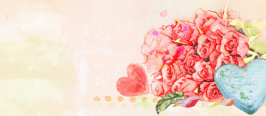 Watercolor greeting card with roses and hearts.