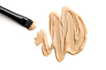 make-up foundation and brush isolated on white background