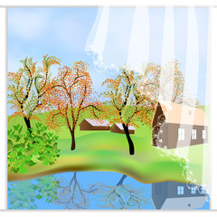 Green autumn landscape. Freehand drawn cartoon outdoors style. Farm houses, countryside scene. Lake view among hills. Vector village countryside scene background. View from the window to the