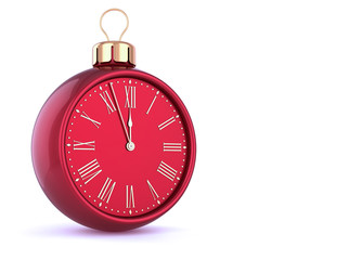 New Year's Eve last hour countdown Christmas ball clock midnight time red golden adornment ornament decoration. Traditional happy wintertime holiday symbol. 3d illustration