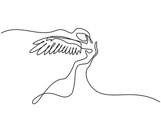Continuous one line drawing. Abstract portrait of angel woman with wings. Vector illustration.