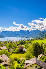 Wall Mural - Aerial view on Wolfgangsee lake,  Salzkammergut, Austria, Europe