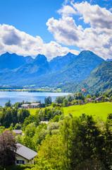 Fototapete - Aerial view on Wolfgangsee lake,  Salzkammergut, Austria, Europe