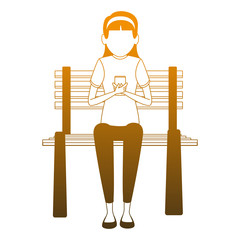 Girl seated on chair using smartphone vector illustration graphic design