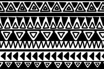 Black and white geometric background. Ethnic hand drawn pattern