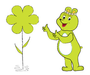 Green Bio Bear. Bio theme, Bear with flower frame for text, vector format.