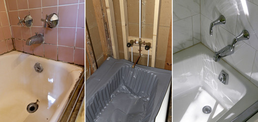 Bathtub and Tiles Installation Progression, Before, During and After