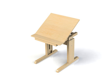 Children's small wooden table. School desk with adjustable height on a white background. Isolated.