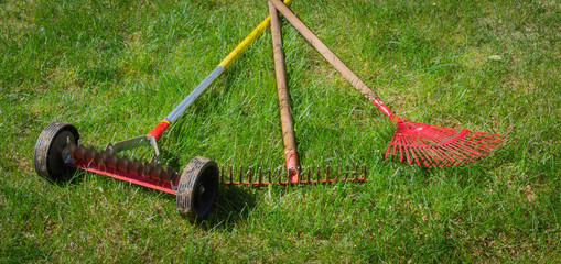 Red garden rakes and manual scarification on the grass in the summer garden. Spring care for lawn.