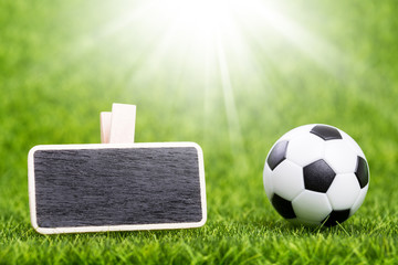 Soccer ball and mockup board on green grass