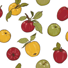 Red, yellow and green apples on white background, vector seamless pattern