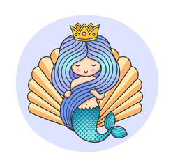Queen mermaid on a background of a seashell. Cartoon character for poster, postcard, invitation. Colorful illustration. Print for kids, children, babies fashion and clothes.