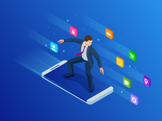 Isometric mobile phone and businessman. Virtual business Surfing. Smart and simple web interface with different apps and icons.