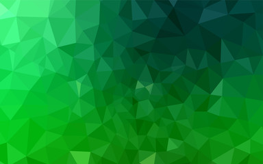 Dark Green vector abstract polygonal pattern.