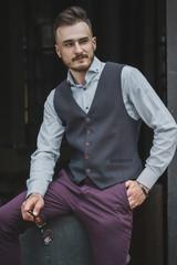 businessman portrait fashion style casual shirt jacket glasses elegant men