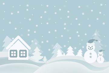 vector picture cartoon greeting card with a snowman house and Ch