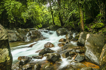 Landscape waterfall in tropical forests. Namtok Phlio national park, Chanthaburi at Thailand.