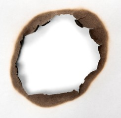 Close-Up View of a Burnt Hole in a Paper