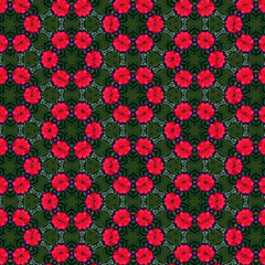 red, pink and purple flowers in a geometric circular repeating pattern over green leaves texture. for textile, fabric, backdrop, background, template and festive surface designs. pattern swatch at Ai