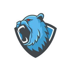 Bear logo mascot design head wildlife sport illustration emblem isolated team vector