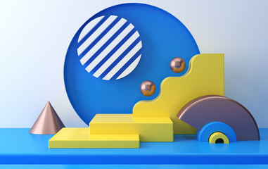 Scene with geometrical forms, yellow platform, minimal background, render