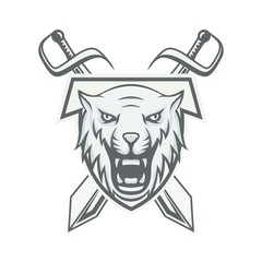 Tiger mascot vector logotype head predator illustration emblem isolated sign sport