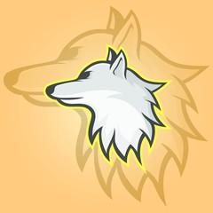 Wolves wolf mascot head logotype vector design illustration emblem isolated animals sport