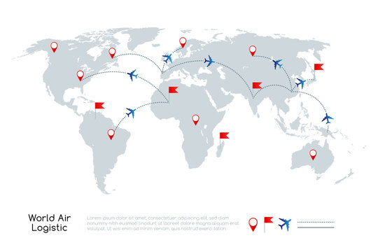 Global air logistic concept. Vector illustration of world map with air planes and traffic lines.