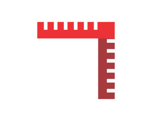 red ruler scale fix repair tool image vector icon logo