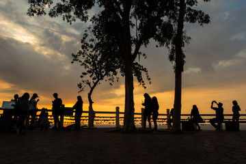 Chanthaburi: February 22, 2018, tourists, people, come to see nature. Evening at Noen Nangphaya Viewpoint, Sanamchai, Na Yai Am District, Thailand