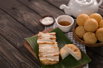 onde-onde and gandos. indonesian traditional food
