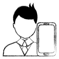 businessman with smartphone character
