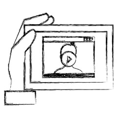 hand using tablet with media player