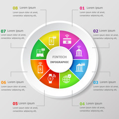 Infographic design template with fintech icons