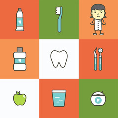set of dental care, element for tooth concept - teeth cartoon vector flat style