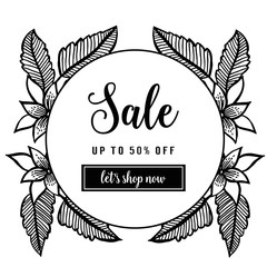 Trendy floral vector template. sale lettering illustration collection