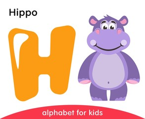 Yellow letter H and violet Hippo. English alphabet with animals. Cartoon characters isolated on white background. Flat design. Zoo theme. Colorful vector illustration for kids.
