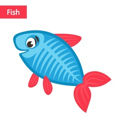 Comic blue fish with pink fins and tail. Funny cartoon character on white background. Flat design. Isolated object. Colorful vector illustration for kids.