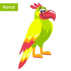 Green parrot with yellow wings and a pink beak. Cartoon colorful character for children. Flat style. Vector illustration.