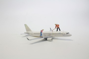 a cleaning on air plane using for business trip