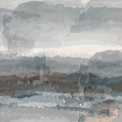Abstract futuristic sketch  landscape with silhouette of mountains and cloudy sky